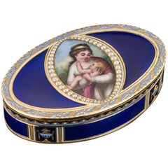 Antique Swiss 18 Karat Gold and Hand-Painted Enamel Snuff Box, circa 1800