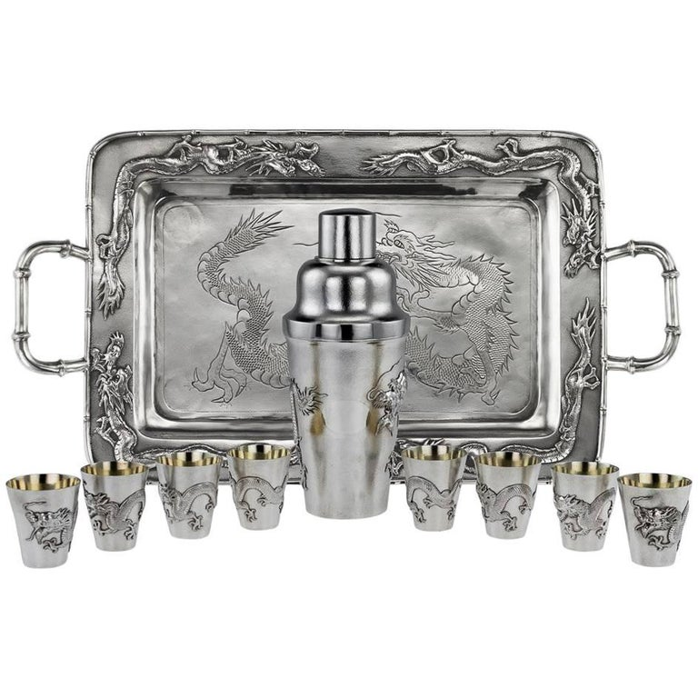 Antique Chinese Solid Silver Dragon Cocktail Set on Tray, circa 1910