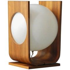 Extra Large Mid-Century Modern Temde 1960s Plywood Table Lamp with Walnut Veneer