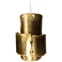 Holm Sorensen Danish Brutalist Midcentury Patinated Brass Pendant, 1960s