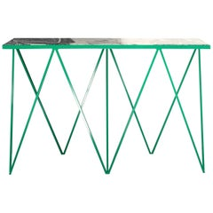 Luxury Bright Green Giraffe Console Table with Granite Top