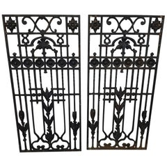 First Half 20th Century Two French Cast Iron Door Grills