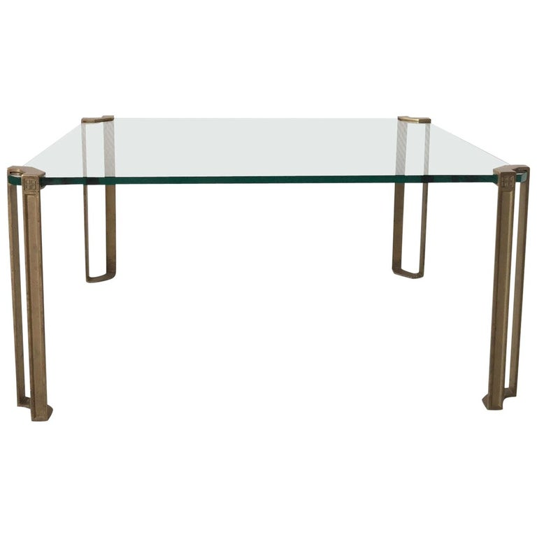 Glass and Brass Coffee Table by Peter Ghyczy, 1970s