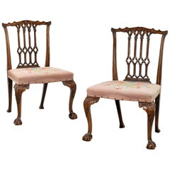 Pair of Late 19th Century Chippendale Design Mahogany Framed Chairs