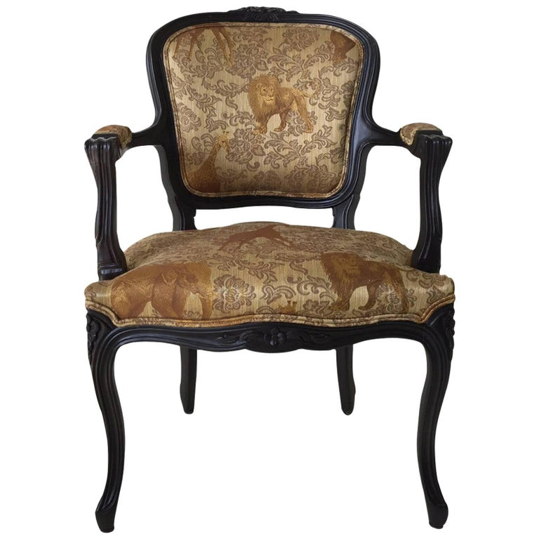 Black Baroque Armchair with Wildlife Designed Fabric by Ascension Latorre, Spain