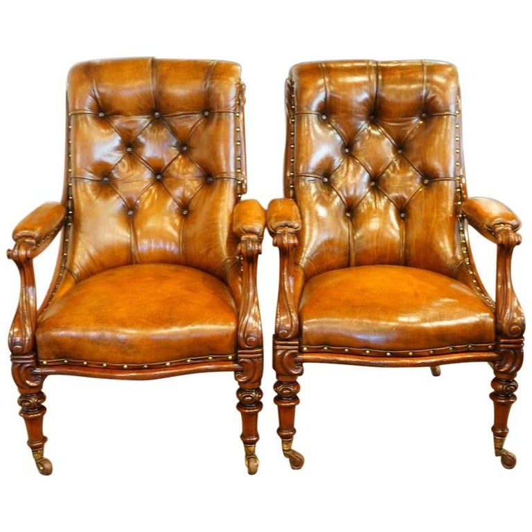 Pair of William IV Mahogany Library Chairs