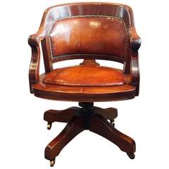 Edwardian Mahogany Swivel Desk Chair