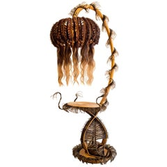 Floor Lamp, Precious, rattan and synthetic fibers, Art Modern