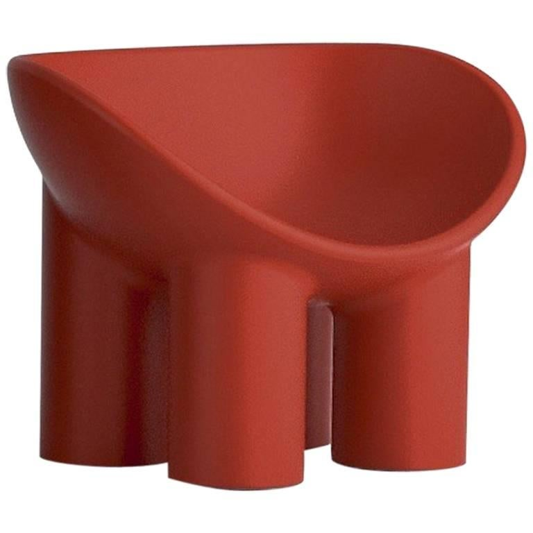 Roly Poly Small Polyethylene Armchair in Brick Red by Faye Toogood for Driade For Sale