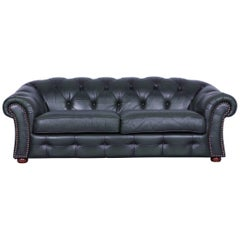 Chesterfield Centurion Leather Sofa Green Three-Seat Couch