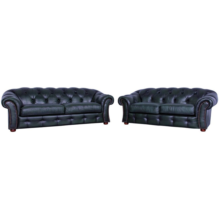 Chesterfield Centurion Leather Sofa Set Green Three-Seat Two-Seat