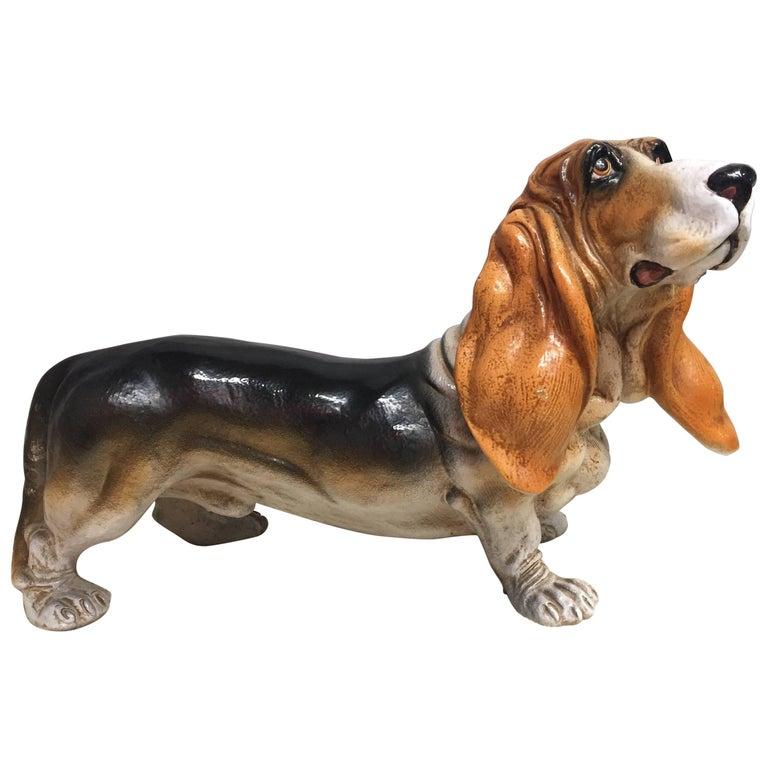 Irresistible Italian Glazed Terra Cotta Basset Hound Sculpture