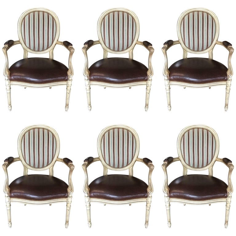 Set of Six Stylish Louis XVI Style Dining Armchairs with Leather and Fabric