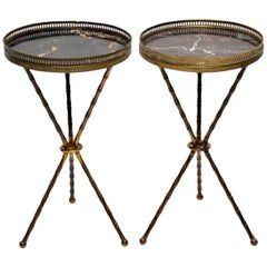 Pair of Antique Brass and Marble Side Tables