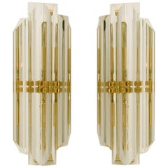 Set of Two Venini Style Murano Glass and Brass Sconces, Italy