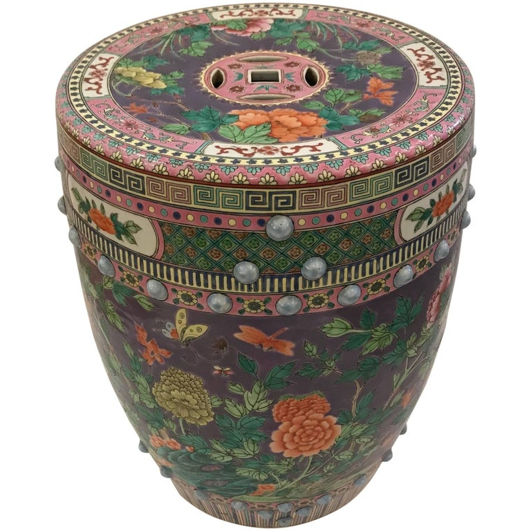 Meticulously Detailed Gorgeous Chinese Garden Seat Side Table