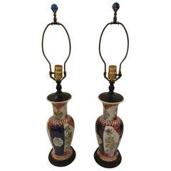 Pair of 19th Century Imari Vase Shaped Table Lamps