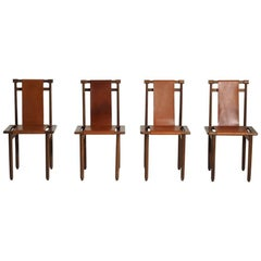 Four Midcentury Chairs, French or Italian, in Walnut