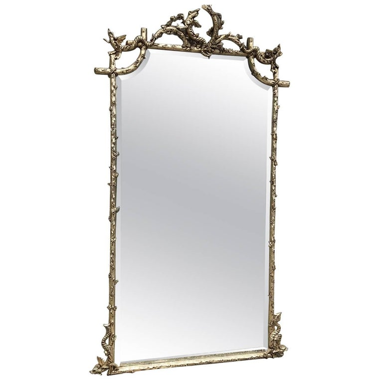 Stunning Rare French Antique Silver Mirror, Original Early 1800s, Vintage