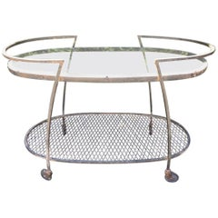 Vintage Oval Woodard Mid-Century Modern Bar Cart