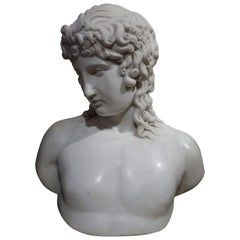 A Bust Sculpture in Carrara Marble, French Neoclassical School, circa 1800-1810