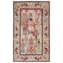 Pictorial Antique Persian Kerman Rug
