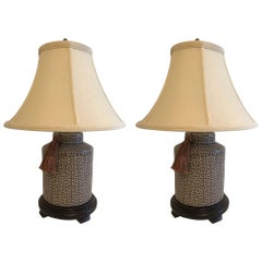 Smashing Pair of Chunky Brown and Grey Geometric Patterned Table Lamps