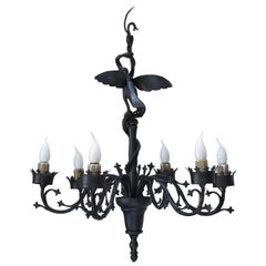 Unusual Wrought Iron Chandelier with Bird and Serpents, France, circa 1940s