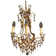 Italian Bronze Crystal Chandelier