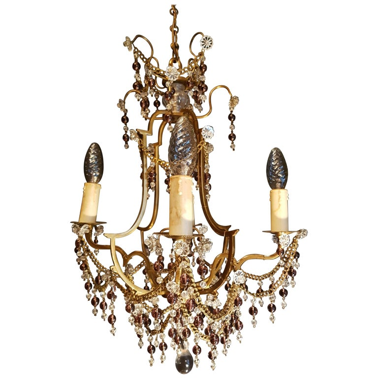 Italian Bronze Crystal Chandelier