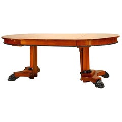 Austrian Biedermeier Style 'Modern' Mahogany Round Pedestal Base Dining Table