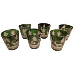 Set of Six German Black Forest Green Tumblers with Hunting Scene