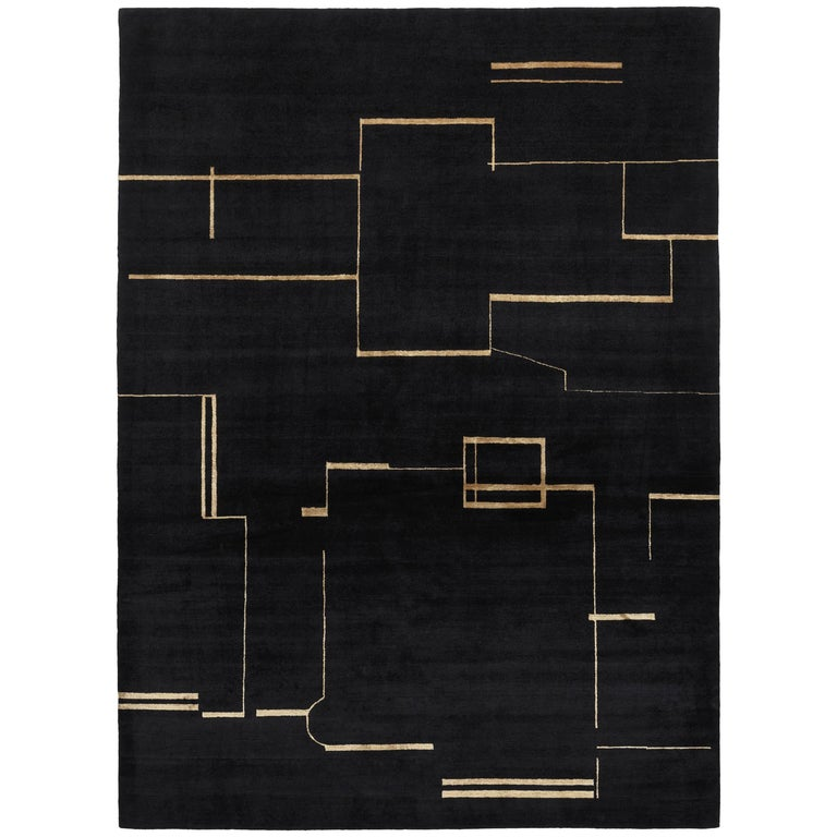 Contemporary Tibetan Rug Hand-Knotted in Nepal, Black, Gold For Sale