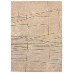 Contemporary Tibetan Rug Hand-Knotted in Nepal, Golden Beige, Sand Grey Green