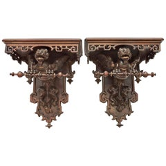 Pair of 19th Century French Japonisme Console Style Wall-Brackets