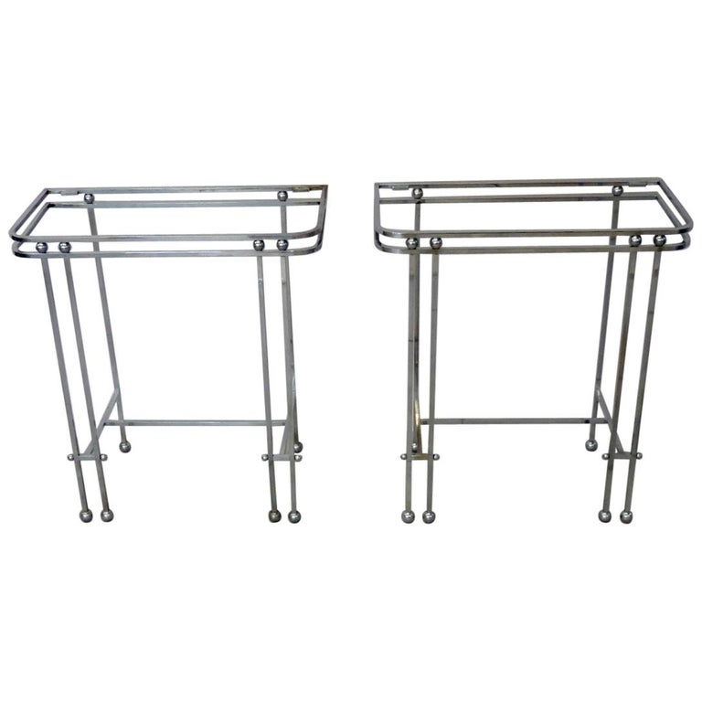 Pair of Donald Deskey Style Art Deco Machine Age Chrome Console Side Tables For Sale