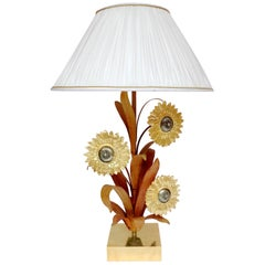 Large Lamp in Brass and Bronze with Sunflowers, 1970s