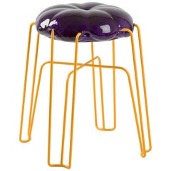 Marshmallow Stool by Paul Ketz in Plum Polyurethane Foam and Steel