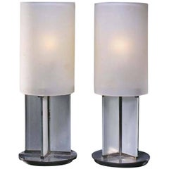 Boris Lacroix Pair of Nickel-Plated Lamps, circa 1927