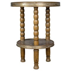 Asian Antique Side Table, Circular Brass Inlaid Tea, Benares, Berber, circa 1900