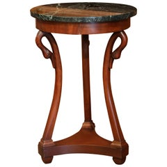 Early 20th Century French Directoire Carved Swan Walnut Side Table with Marble