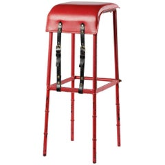 Jacques Adnet Leather Bar Stool, France, circa 1950