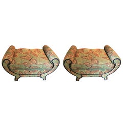 Hollywood Regency Style Pair of Butterfly Upholstered Benches / Footstools Swaim