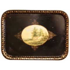 19th Century French Napoleon III Black and Gilt Tole Tray with Pastoral Scene