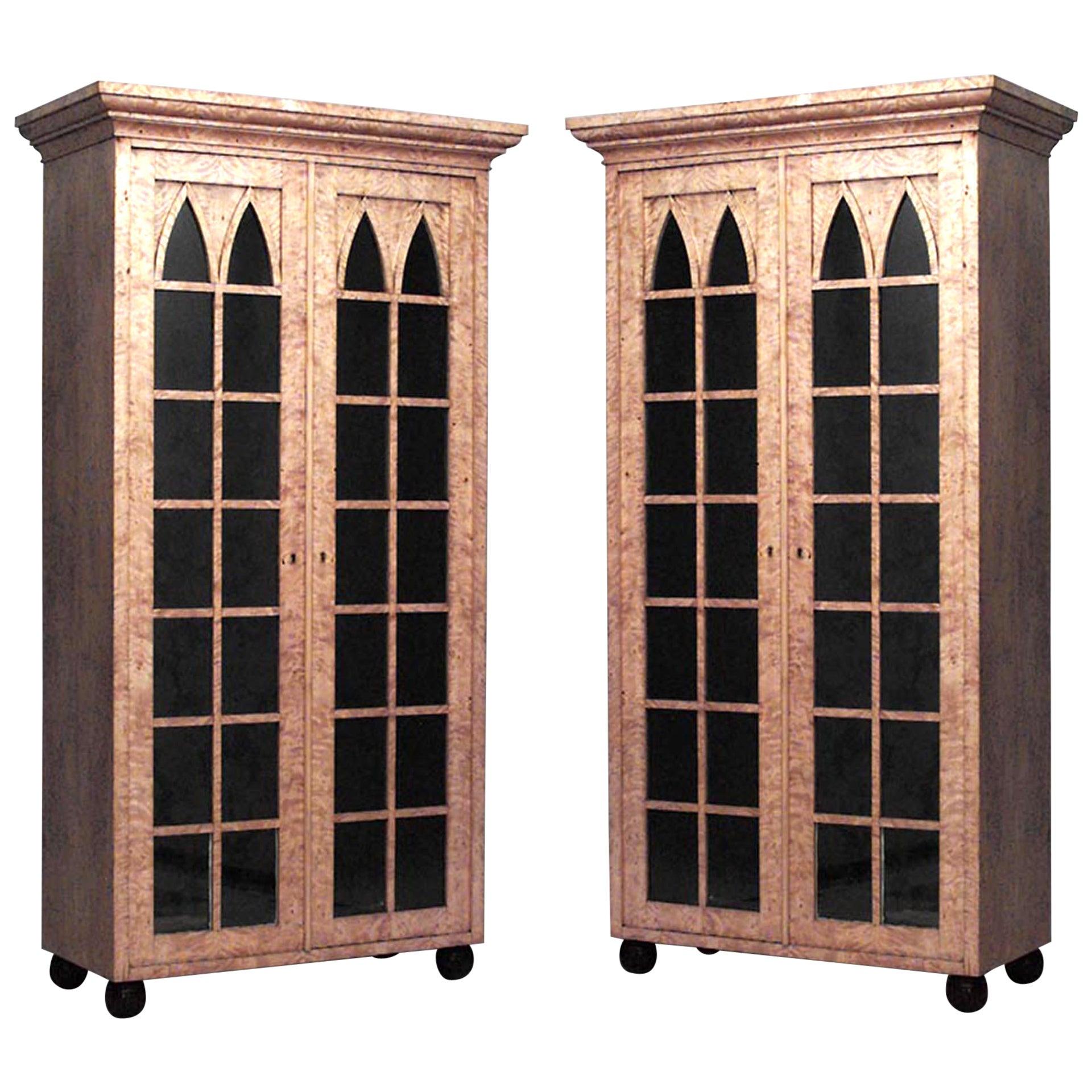 Pair of 19th Century German Biedermeier Birch Bookcase Cabinets