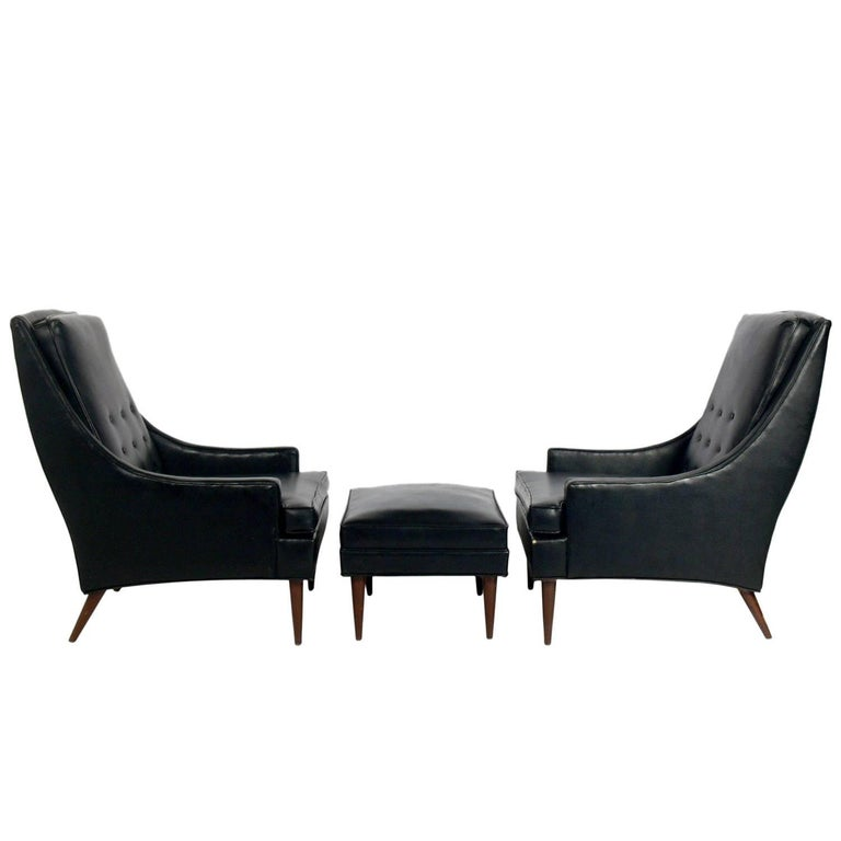 Pair of Mid-Century Modern Lounge Chairs and Ottoman Attributed to Milo Baughman