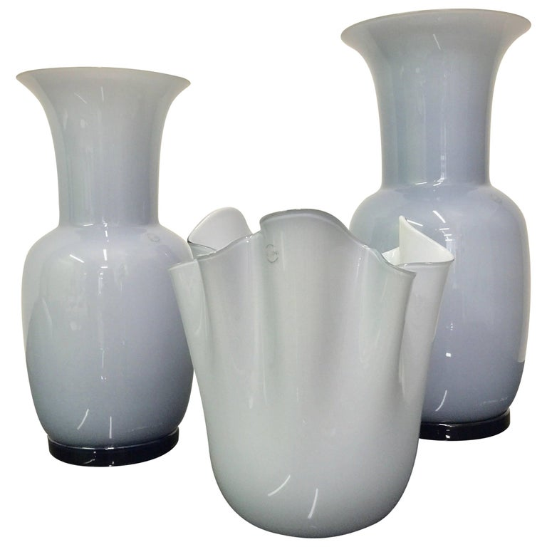 Set of Three Venini Murano Glass Vases