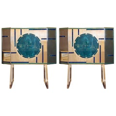 Mid-Century Modern Pair of Dry Bars in Brass & Engraved Murano Green/Blue Glass