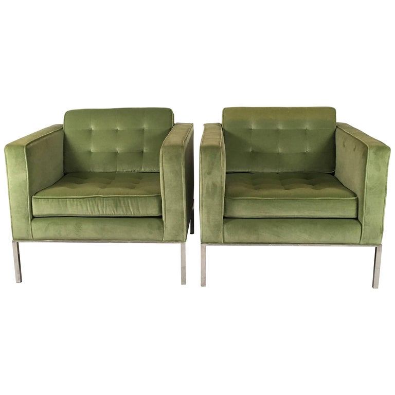 Pair of Florence Knoll Lounge Chairs from ABC Television Corporate Offices