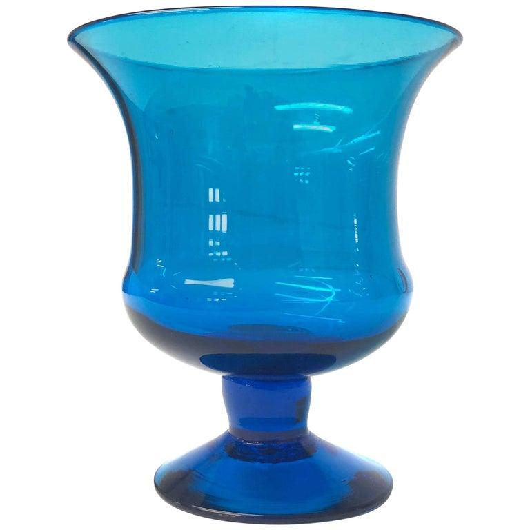 Colorful Turquoise Blue Mid Century Modern Large Viking Art Glass